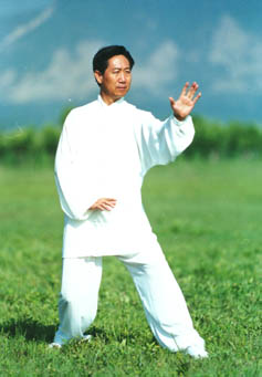 Mr. Di Guoyong, president of the Beijing Xingyiquan Research Association, in Chopping Fist (Pi Quan)